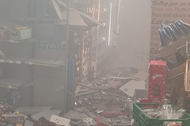 Thieves blew up an ATM machine inside a store