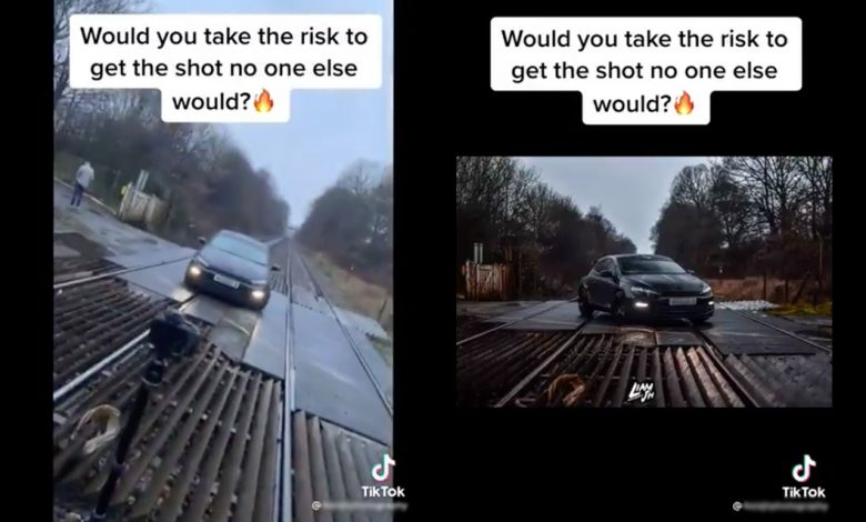 Network Rail today condemned a video posted on social media platform TikTok showing a car being photographed on a live railway crossing.