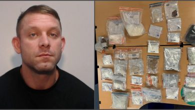 A man has been jailed after officers raided property stocked with £200,000 worth of class A and B drugs